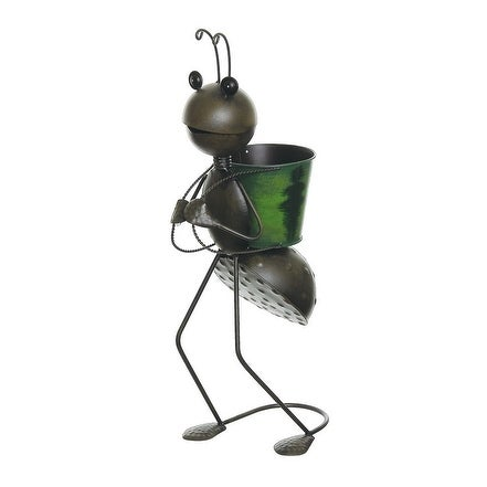 "22.5"" Espresso Brown Garden Ant With Green Backpack Decorative Spring Outdoor Planter"