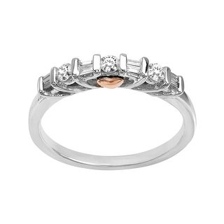 1/4 ct Round and Baguette-Cut Diamond Ring in 10K Two-Tone Gold