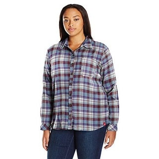 Dickies WomenS Plus Size Long-Sleeve Flannel Shirt, Dusty B - dusty blue opaque white plaid