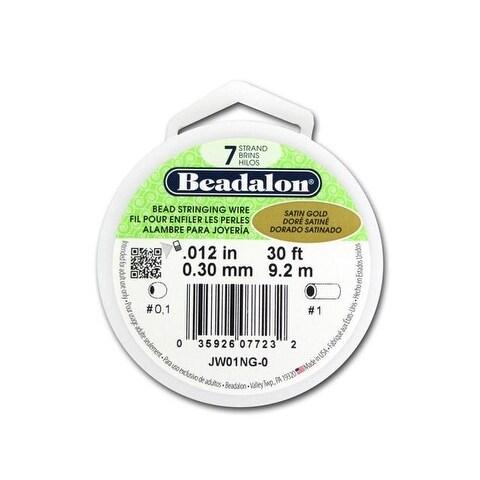 "Beadalon Bead Wire 7Strand .012"" Satin Gold 30'"
