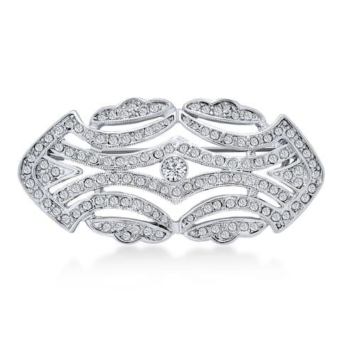 Large Crystal Fashion Art Deco Gatsby Vintage Style Scarf Brooch Pin