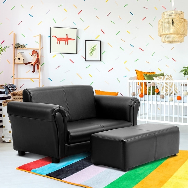 Costway Kids Sofa Armrest Chair Couch Lounge in Black