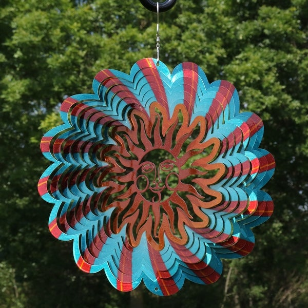 Sunnydaze Reflective 3D Sun Whirligig Wind Spinner - Multiple Options