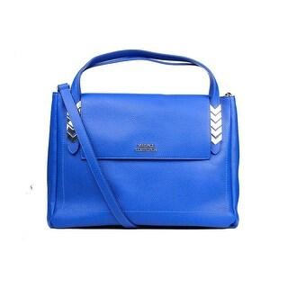 Versace Collection Solid Blue Large Pebbled Leather Arrow Shoulder Bag