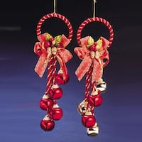 """Club Pack of 12 Red and Gold Colored Jingle Bell Cluster Christmas Door Hangers 5.5"""""""