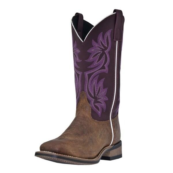 Laredo Western Boots Womens Cowboy Mesquite Vintage Tan Purple