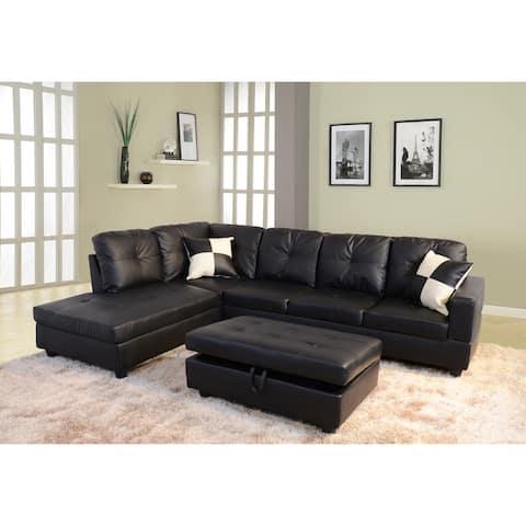 3-Pieces Sectional Sofa Set,Left Facing Black(091A)