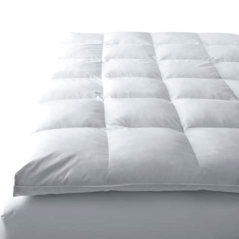 Down Alternative Organic Cotton Shell Mattress Pad & Protector - White