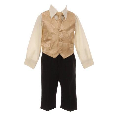 Baby Boys Gold Paisley Pattern Neck Tie Vest Shirt Pant 4 Pc Suit