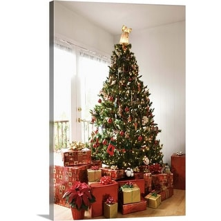 """""""Christmas tree and gifts"""" Canvas Wall Art"""
