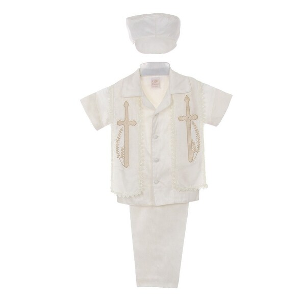 71c221598 Shop Rain Kids Baby Boys Ivory Shantung Silk Guayavera Shirt Stole Pants Baptism  Set 6-12M - Free Shipping Today - Overstock - 23061380