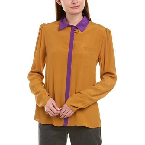 Pinko Silk-Blend Colorblocked Top