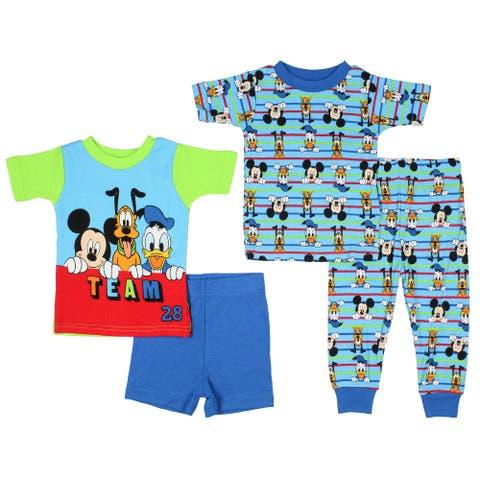 Disney Junior Baby Boys' Team 28 Mickey Mouse Donald Pluto 2 Cotton Pajama Sets