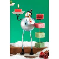 """Pack of 4 Metal Table Top Christmas Snowman Candle on Rope Holders 10"""" - White"""