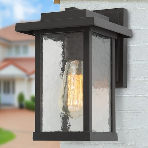 """Transitional 1-Light Black Outdoor Wall Sconce Glass Lamps - W6.5""""x H11""""x E7.5"""""""