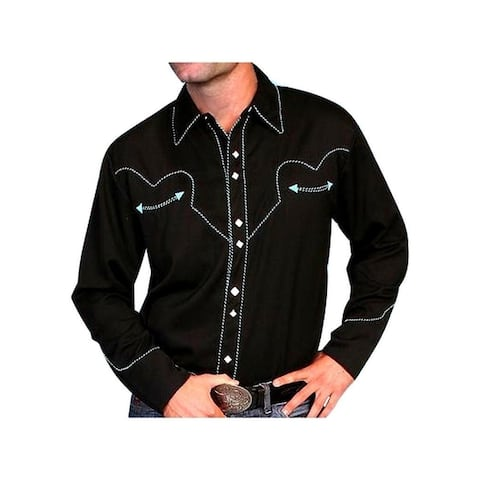 Scully Western Shirt Mens L/S Snap Solid Candy Cane Piping