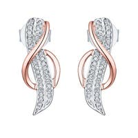 Prism Jewel 0.11Ct G-H/I1 Natural Diamond Designer Two-Tone Gold Push Back Earring - White G-H