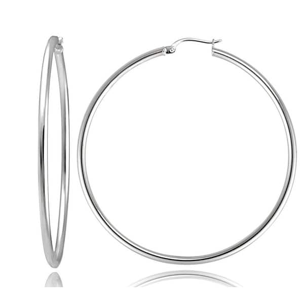 DOUBLE DIAMOND SHAPED HOOPS £15.50 NWT STERLING SILVER HANDCRAFTED 50mm.x 30mm
