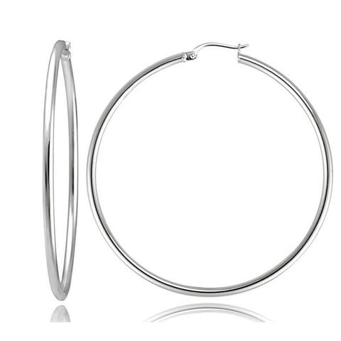 Mondevio Sterling Silver 50mm Large High Polished Round Hoop Earrings