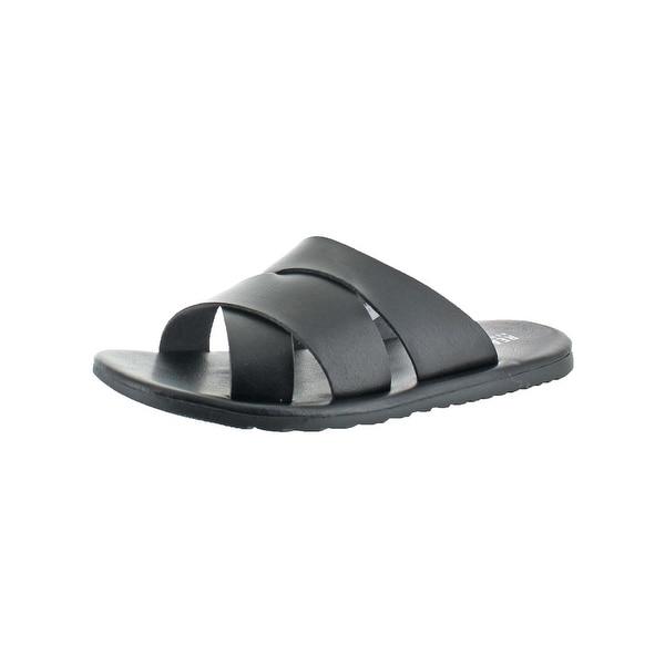 8277177a1c89 Kenneth Cole Reaction Mens Big Crowd Faux Leather Slide Sandals Black Size  10 - 10 medium