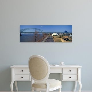 Easy Art Prints Panoramic Images's 'Mississippi River, The Pyramid Sports Arena in skyline, Memphis, TN' Canvas Art