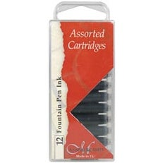 Black; Blue & Sepia - Manuscript Fountain Pen Ink Cartridges 12/Pkg