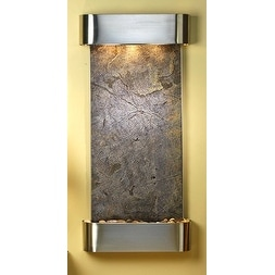 Adagio Cascade Springs With Green Featherstone in Stainless Steel Finish and Rou