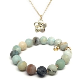 Green Amazonite Bracelet & Flower Gold Charm Necklace Set