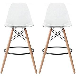 """2xhome Set of 2 Modern 28"""" Height Clear Seat DSW Molded Armless Plastic Counter Bar Stool Natural Wood Eiffel Dowel Legs"""