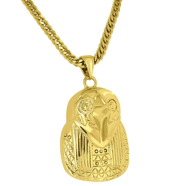 Horus Piece Pendant 18K Yellow Gold Plate God Of Sun War Protection Free Chain