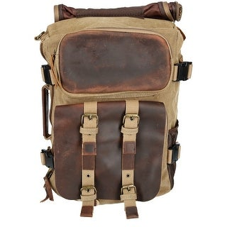 CTM® Mens Leather and Canvas Convertible Backpack to Briefcase - One size