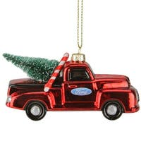 """2.5"""" Red Ford Truck with Christmas Tree Glass Ornament"""