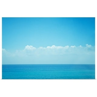 """Blue ocean with sky and clouds."" Poster Print"