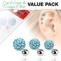 3 Pcs Value Pack of Assorted 316L Tragus Bar with Aqua Ferido Ball