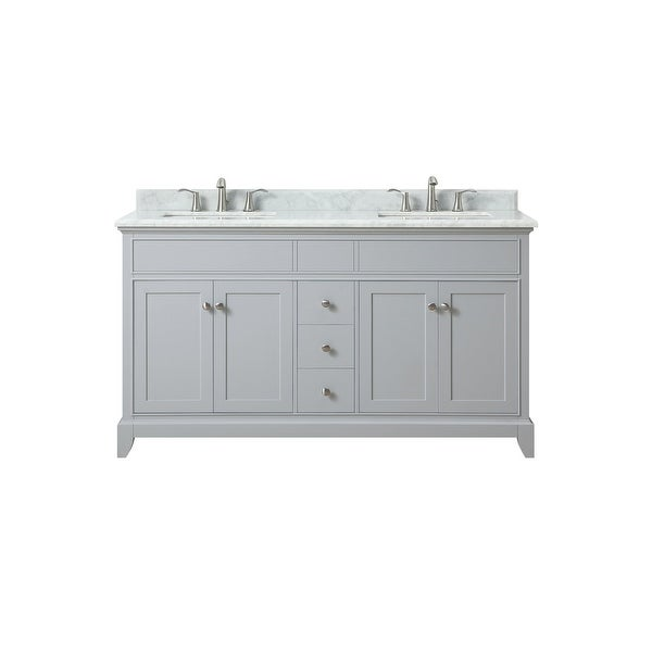 Azzuri Aurora Vs60 Aurora 60 Double Vanity Set With Wood Cabinet Marble Vanity Top And Two Undermount Sinks Light Gray