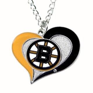 NHL Boston Bruins Swirl Heart Necklace