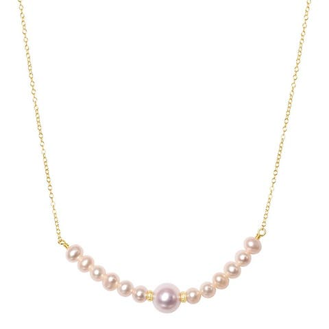"""14K White Pearl Gold Roundel Bar Necklace 18"""""""