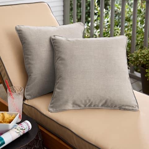 Sunbrella Cast Silver Corded Indoor/ Outdoor Pillow Set (Set of 2)