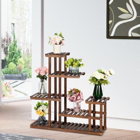 5 Floors 10 Seats Multifunctional Carbonized Wood Plant Stand Indoor And Outdoor