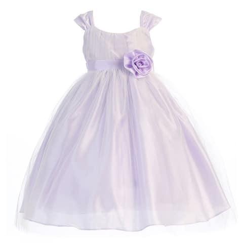af74f5ef555 Little Girls Lilac Polysilk Tulle Flower Girl Dress 2T-6