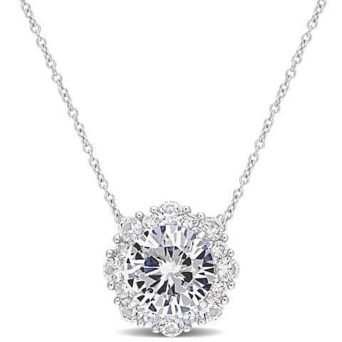 Miadora Created White Sapphire Halo Station Necklace in 10k White Gold