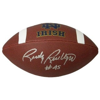Rudy Ruettiger Signed Notre Dame Rawlings Brown Logo Football