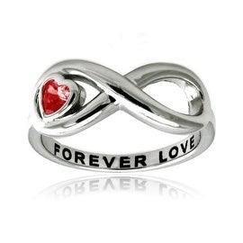 Sterling Silver Infinity Forever Love Ring w/ Red Heart CZ
