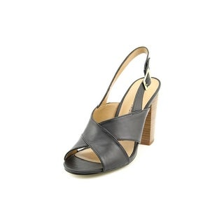 Chinese Laundry Ballad Women Open Toe Leather Black Sandals