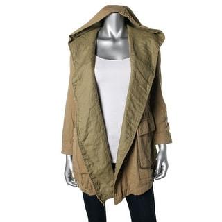 Zara Womens Hooded Open Front Jacket