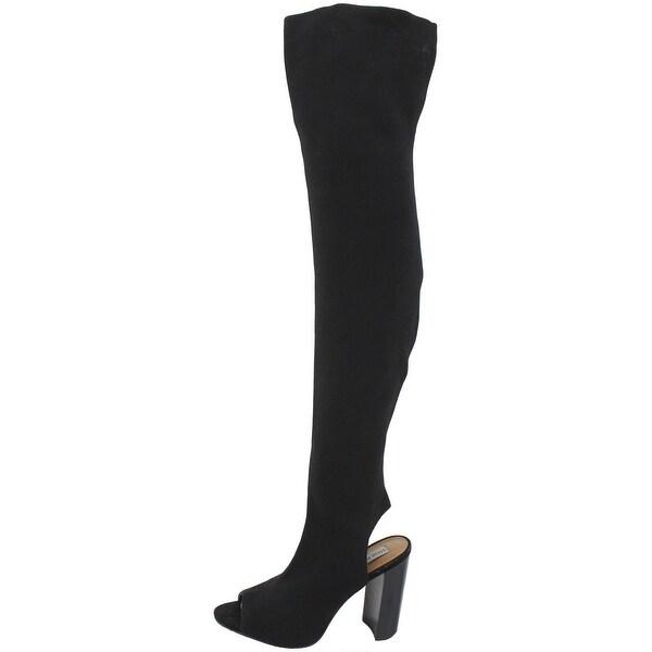 Steve Madden Womens Serinade Sock Boot Open Toe Thigh-High