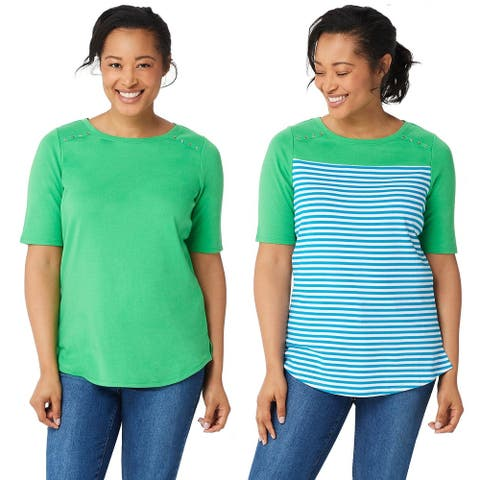 Quacker Factory Womens Elbow- Sleeve Set of Two Knit Tops S Spearmint A351347