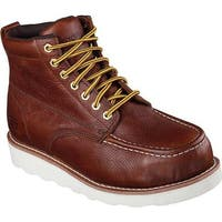 Skechers Men's Work Relaxed Fit Pettus Grafford Steel Toe Boot Red/Brown