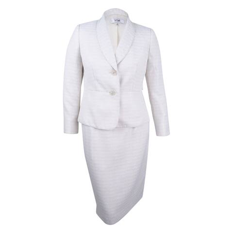 Le Suit Women's Shawl-Collar Tweed Skirt Suit