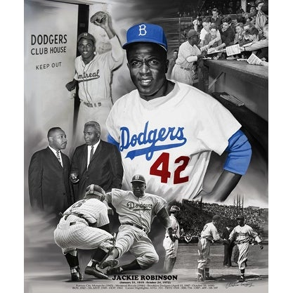 ''Jackie Robinson'' by Wishum Gregory African American Art Print (24 x 20 in.)